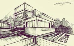 Architectural Sketch by Cláudio Cigarro, via Behance