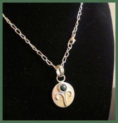 Aries Bloodstone Zodiac Necklace Handmade by Tamsjewelrydesigns