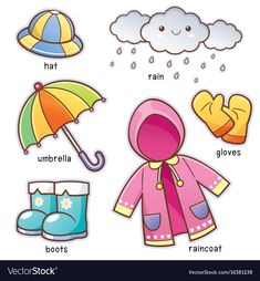 Find Vector Illustration Cartoon Rain Clothes Vocabulary stock images in HD and millions of other royalty-free stock photos, illustrations and vectors in the Shutterstock collection. Thousands of new, high-quality pictures added every day. Learning English For Kids, English Lessons For Kids, Kids English, English Language Learning, Toddler Learning, Teaching English, Teaching Kids, Teaching Weather, Weather Worksheets