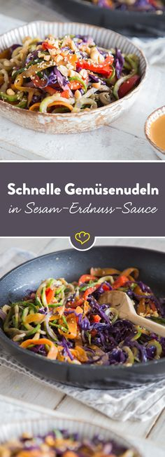 Completely twisted: Colorful vegetable pasta with sesame-peanut sauce - Spiralschneider-Rezepte Raw Food Recipes, Veggie Recipes, Asian Recipes, Vegetarian Recipes, Cooking Recipes, Healthy Recipes, Ethnic Recipes, Law Carb, Vegetable Noodles