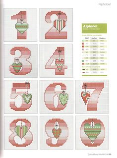 abc country hearts3 Cross Stitch Numbers, Cross Stitch Letters, Cross Stitch Christmas Cards, Christmas Cross, Cross Stitch Designs, Stitch Patterns, Mermaid Toys, Embroidery Fonts, Alphabet And Numbers