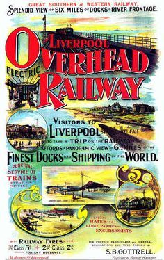 Liverpool By GSWR 1915 Colour Railway travel Poster, great southern and western railway