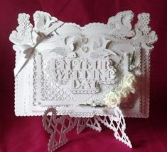 On Your Wedding Day Book card Stand SVG on Craftsuprint designed by Tina Fitch - This is just stunning once cut and assembled and could be used for many occasions should you wish.. with only small embellishments to compliment the design too... - Now available for download!
