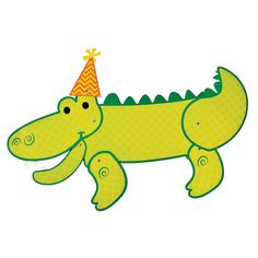 Alligator Jointed Cutout - OrientalTrading.com Alligator Birthday Parties, Alligator Party, Happy 4th Birthday, Big Party, School Parties, Oriental Trading, Paper Decorations, Yoshi, Party Supplies