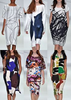 Drawn Line – Clean Crisp Linework – Painted Brushmarks – Expressive Scribbles – Geometric Cut-outs – Paint Splatters – Neutral Colour Pallette – Collaged Assembles – Artistic Creations London Womenswear Print Highlights Part 1 – Spring/Summer 2015 catwalks