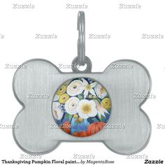#dog tag #Thanksgiving #Pumpkin #Floral painted in Acrylic #Pet ID Tag