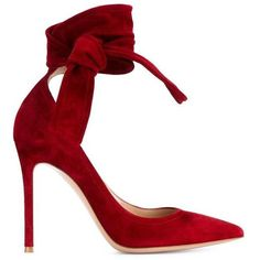 Gianvito Rossi 'Lane' Pumps (2.970 BRL) ❤ liked on Polyvore featuring shoes, pumps, heels, red, red stiletto pumps, red ankle strap pumps, red suede pumps, red pumps and red stilettos