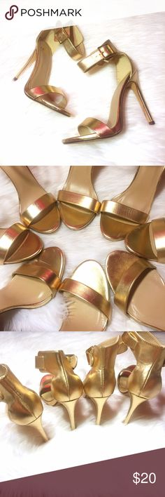 """Gold Single Sole Ankle Strap Heels ✨ Gold Single Sole Ankle Strap Heels in a variety of sizes, used indoors 2-3 times for a fashion show and rehearsals. All pairs are in great condition but have some minor scuffs or dents on the inside sole/toe area that aren't visible when worn or the back of the shoes as shown. Heel measures 4.75"""". Vegan leather. Feel free to bundle with other items in my closet for a discount!  Lulu's Shoes Heels"""