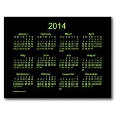 Neon Green 2014 Mini Calendar Design from Calendars by Janz