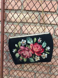 The colors pop on this black wool vintage needlepoint pocket book, red roses, gold chain handle, vintage purse, ladies accessories, Purses by TwoSwansSwimming on Etsy