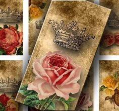 Roses and Crowns 1 X 2 inch for your Artwork  by DigitalPerfection, $4,00