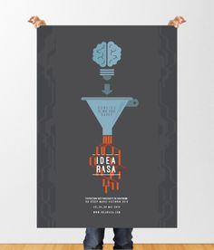 Affiche publicitaire pour l'exposition des finissants en graphisme du cégep Marie-Victorin 2014. Conception graphique: Anne-Marie Poirier