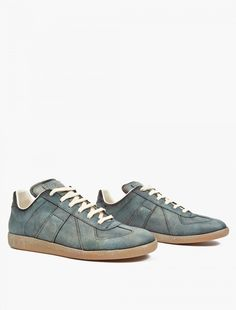 745328e73c81 Maison Margiela 22 Green Leather And Suede Replica Sneakers in Gray for Men