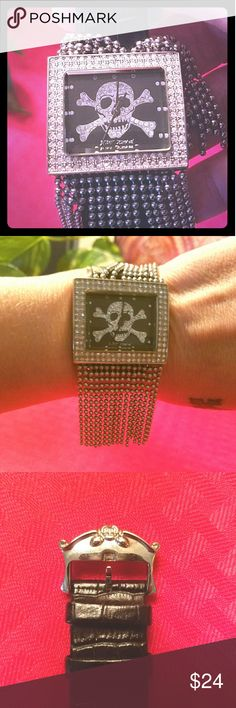🔥🔥BETSEY JOHNSON WATCH🔥 Awesome skull watch by Betsey Johnson. This watch is one of her earlier styles, like in the vintage range, since I've had it since 90's. Do note, as shown in pix above, 6 beaded strings are missing on top part. It still is way cool !! 💃💃💃  * Needs New Battery * Betsey Johnson Accessories Watches