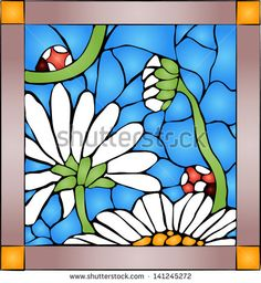 Vector composition of chamomile and ladybugs / Stained glass window