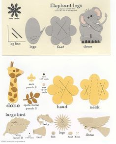 laura's frayed knot: Paper-Punch Art - Zoo - Elephant, Giraffe & Lg. Bird