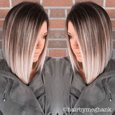 Dark brown with ash blonde ends. dark brown with ash blonde ends ombre medium hair Hair Color And Cut, Ombre Hair Color, Cool Hair Color, Ombre Style, Ombre Hair Bob, Long Bob Ombre, Bob Hair Colour Ideas, Lob Ombre, Ombre Bob Haircut