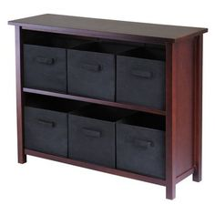 2 Shelf Verona Storage with 6 Baskets - WalnutBlack Possibly for bedroom.  Could go in front left corner up against wall.