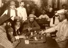"In the days of the frontier west, poker was king with the mustachioed likes of Wild Bill Hickok, Doc Holliday, ""Canada"" Bill Jones, Wyatt Earp, Bat Masterson, and hundreds of others.In the old west towns of Deadwood, Dodge City, Tombstone, and Virginia City, gamblers played with their back to the wall and their guns at their sides, as dealers dealt games with names such as Chuck-A-Luck, Three Card Monte, High Dice, and Faro, by far the favorite in the wild west saloons."
