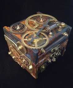 Steampunk Clockwork jewelry box. One-of-a-kind with vintage brass clock gears and parts.