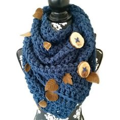 Feel like you're in the middle of leaf turning season in New England with our stunning Leaf Button Scarf. Wood buttons with the bark imitate the bare trees after their last leaf has fallen.  #etsyfinds #crochet #handmade #EtsyHunter #bohochic #bohemian