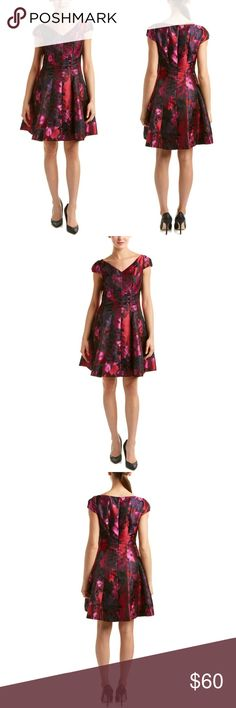 Donna Rocco multicolor floral dress Color/pattern, wine and pink multicolor floral. Cap sleeves, seaming details dual on seam pockets center back zipper with hook and eye closure. Shell. 100% polyester. Lining 100 %polyester. Combo. 100%polyester.. Donna Ricco Dresses Mini