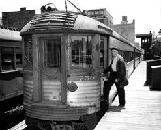 A Chicago North Shore and Milwaukee Railroad car sits in the electric lines 12th Street yards in 1962, a year before the North Shore line would shut down. — Chicago Tribune historic photo