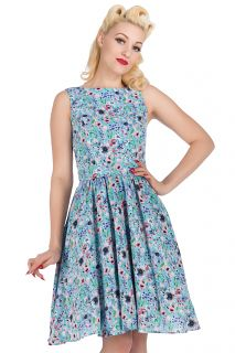 The Summer Sky Blue Floral Tea Dress. Available in Sizes 8-20. Made in London. LIMITED EDITION. £50