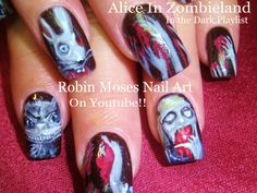 10 Nail Art Tutorials | DIY Scary Halloween Nails | Alice in Zombieland