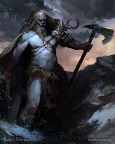 Half Frost Giant & Half Human (Barbarian Axeman), Igor Sid on ArtStation at… Fantasy Warrior, Fantasy Races, Fantasy Anime, Fantasy Rpg, Medieval Fantasy, Dark Fantasy, Character Concept, Character Art, Concept Art