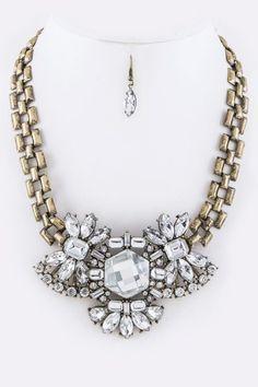 Burnished Gold Bejeweled Crystals Statement Necklace Set