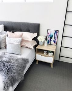 pinterest // kelseyeliseb Bedroom Inspo, Home Bedroom, Bedroom Decor, Bedroom Ideas, Bedrooms, Bedside Table Styling, Kmart Decor, Pretty Room, Dream Home Design
