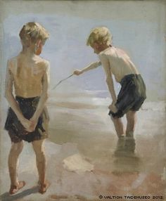 File:Albert Edelfelt - Study for the Boys Playing on the Shore (Boys Paying on the Shore, Study) - A II 1515 - Finnish National Gallery. Portrait Art, Portraits, Cleveland Museum Of Art, Boys Playing, Beach Scenes, Boy Art, Beach Art, Art Techniques, Cute Drawings