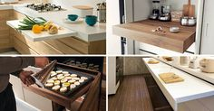 Pull-out kitchen counters are a great way to add additional food prep area in your kitchen as you need it. Here are 10 examples of pull-out counters. Kitchen Pulls, Prep Kitchen, Kitchen Sets, Kitchen Cabinet Styles, Kitchen Cabinets, Kitchen Counters, Small Kitchen Layouts, Compact Kitchen, Style Deco