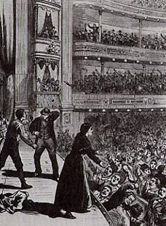 """A rowdy Yiddish audience at the Bowery theatre -- """"The audience showmen tried to tame; at the Bowery Theatre, 1878"""""""