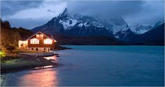 Patagonia - Hosteria Pehoe in Pehoe Lake in Torres del Paine National Park Oh The Places You'll Go, Great Places, Places To Travel, Beautiful Places, Places To Visit, Beautiful Scenery, Chile, Torres Del Paine National Park, South America Destinations