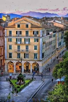 ♥*I love Greece.because Greece has a big history! Because people in greece are hot. Corfu Town, Greece Pictures, Corfu Island, Corfu Greece, Greek Islands, Vintage Pictures, Street View, Community, Mansions