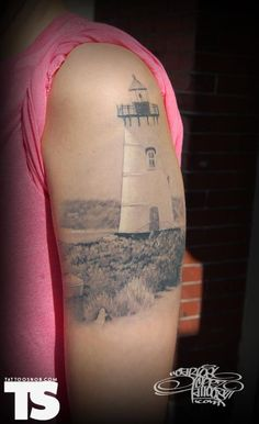 Tattoo by Carlos Lopez at Tattoo 101 in Leominster, MA. I mean I don't want a lighthouse tattoo but how beautiful!