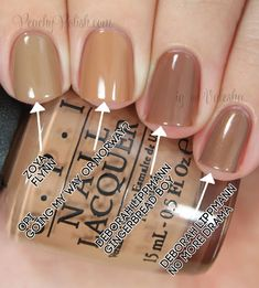 "OPI: Nordic Collection Comparisons Pointer to pinkie; 2 coats of each: Zoya ""Flynn"", OPI ""Going My Way Or Norway?"", Deborah Lippmann ""Gingerbread Boy"" & Deborah Lippmann ""No More Drama"""