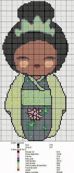 Encontrado en grillespoindecroixetcie.blogspot.fr Tiana Kokeshi pattern by grilles point de croix et cie