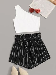 Shein One Shoulder Rib-knit Top & Paperbag Waist Striped Belted Shorts Set Source by ShopStyle Tops Cute Girl Outfits, Cute Summer Outfits, Cute Casual Outfits, Outfits For Teens, Pretty Outfits, Stylish Outfits, Casual Shorts, Girls Fashion Clothes, Summer Fashion Outfits