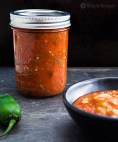 Canned Tomato Salsa ~ Homemade tomato salsa with green chiles and jalapenos, with canning instructions. ~ SimplyRecipes.com