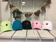 New Strawberry Embroidered Baseball Cap Low Profile Curved Bill - Multiple Colors Gift for Her by PrfctoLifestyle on Etsy https://www.etsy.com/listing/260901042/new-strawberry-embroidered-baseball-cap