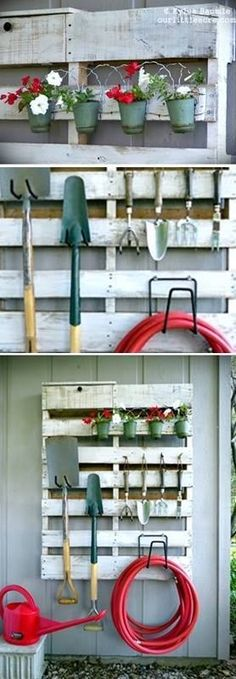 Reuse wooden pallets to organize your garden tools