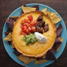 Loaded Queso In A Tortilla Bowl Recipe by Tasty - Steak Recipes Beef Recipes, Mexican Food Recipes, Cooking Recipes, Cooking Tv, Cooking Wine, Quick Recipes, Cooking Ideas, Summer Recipes, Tasty Videos