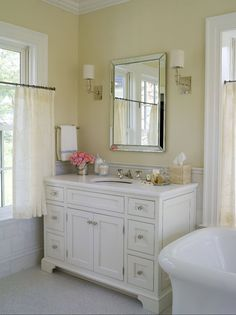 Alisberg Parker Architects - bathrooms - master bathroom, yellow walls, yellow bathroom walls, crown moldings, bathroom crown molding, bathr...