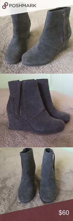 TOMS - Suede Grey Wedges/Booties - TOMS, Grey, Suede, Wedges/Booties - Size 8.5 in Women's - I got them for my birthday, wore them once. When I realized they were too big it was too late to return/exchange. Super cute though :)  - Basically flawless. Accepting reasonable offers :) TOMS Shoes Ankle Boots & Booties
