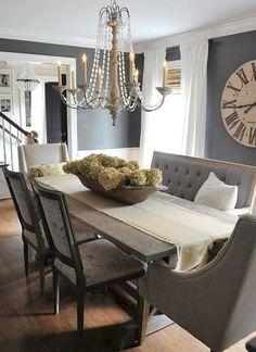 Stylish Farmhouse Dining Room Table Decorating Ideas 18