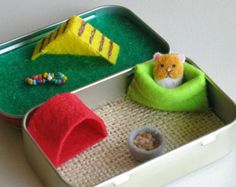 Hamster-Miniatur fühlte Plüsch in Altoid Tin Spielset