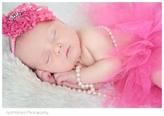 Newborn girl pic, love the pearls... A must
